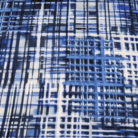 Tissu au mètre fine viscose bleue blanc en 140cm n°716