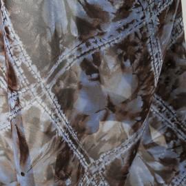 Tissu au mètre voile Polyester parme et marron en 140cm n°721