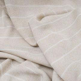 Tissu au mètre Jersey viscose côtelé vert pâle rayé en 145cm n°723