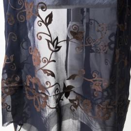 Panneau Voile de polyester bleu nuit et fleurs panne de velours marron 1m50 en 140cm n°726