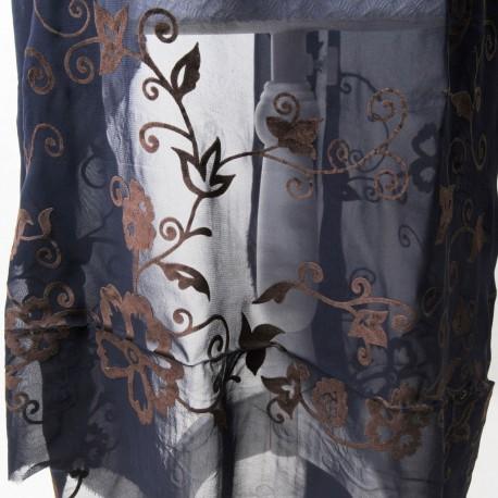 Coupon Voile de polyester bleu nuit et fleurs panne de velours marron 1m50 en 140cm n°726
