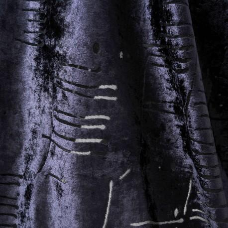 Tissu au mètre panne de velours ajourée bleu nuit en 145cm n°763