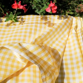 Tissu au mètre coton vichy satiné jaune en 110 cm n°751