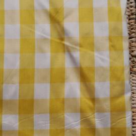Tissu au mètre coton satiné Vichy gros carreaux jaune en 140 cm n° 755