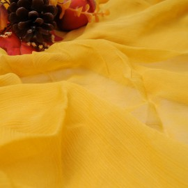 Tissu Haute Couture au mètre jaune safran Voile crépon coton° 773