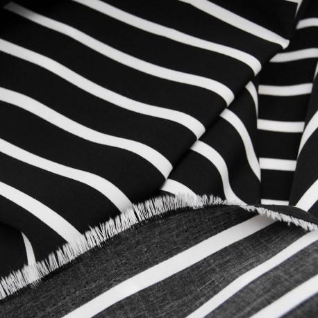 Tissu au mètre Polyester en 115cm noir et blanc n° 775