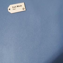 Similicuir skaï lisse Bleu Coupon 86cm x 54cm