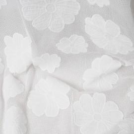 Coton blanc cassé filet avec grosses fleurs en 140cm n°362 par 50cm