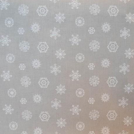 Au mètre toile coton Flocons gris en 145cm