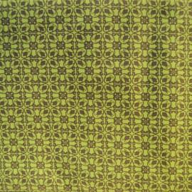 Au mètre toile coton imprimée vert anis en 145cm