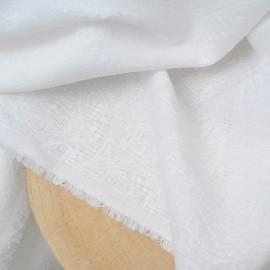 Coupon Jacquard brodé blanc Haute Couture 1m20 en 155cm n°908