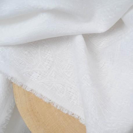 Au mètre Jacquard brodé blanc Haute Couture en 140cm n°908