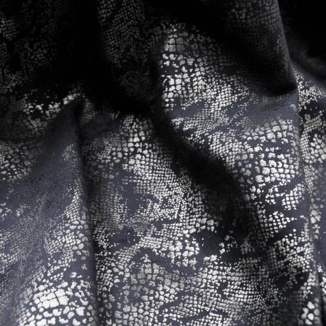 Au mètre daim bleu imprimé reptile argent en 145cm n°918