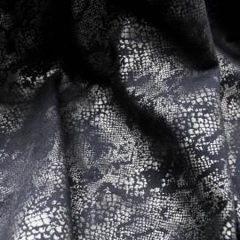 Coupon daim bleu imprimé reptile argent 1m en 145cm n°918