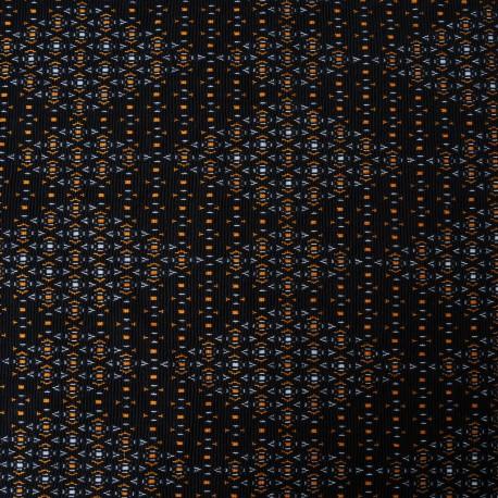 Jersey Polycoton Losange noir et orange en 150cm n°922