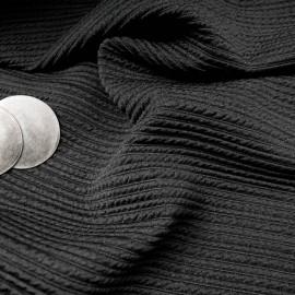 au mètre Jersey Polyviscose strié noir en 145cm n°926