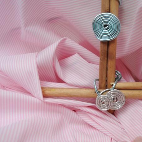Au mètre Coton Polyamide rayures rose n°927