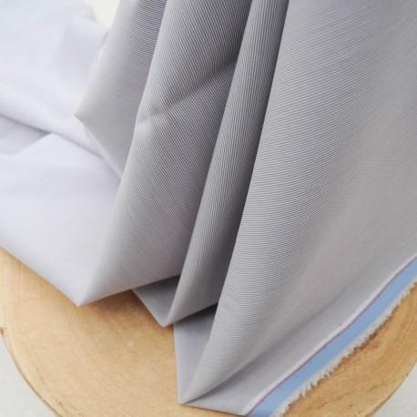 Au mètre Coton Polyamide rayures gris bleu n°928