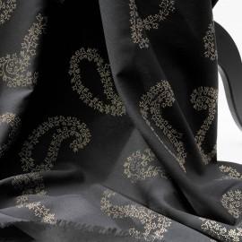 Coupon Fibranne viscose noire motif cachemires dorés 68cm en 150cm n°936