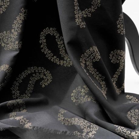 Au mètre Fibranne viscose noire motif cachemires dorés en 150cm n°936