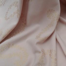 Au mètre Fibranne viscose rose motif cachemires dorés en 150cm n°937