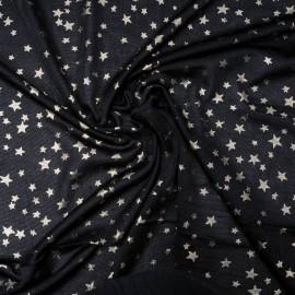 Au mètre Maille polyamide noire étoiles dorées en 155cm n°929