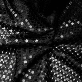 au mètre Maille 3D Polyester Petits carreaux Noir n°952 en 155cm