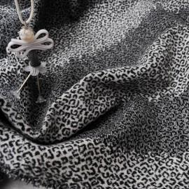 au mètre Jacquard Lainage gris et noir tâches guépard en 130cm n°968