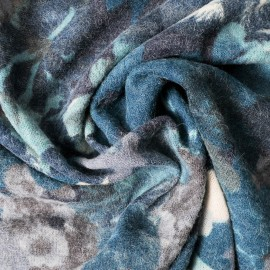 Au mètre maille très fine camaieu de bleus fleurs en 145cm n°969