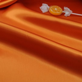 au mètre Satin de polyester opaque orange en 140 cm 971