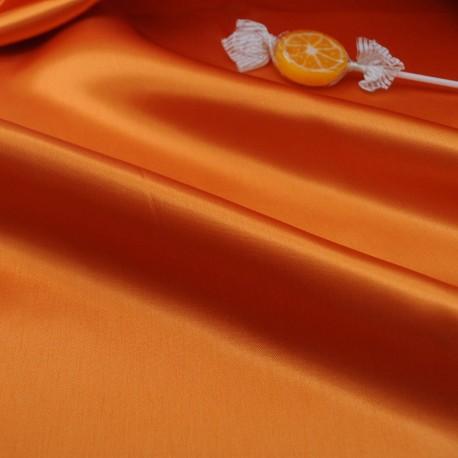 au mètre Satin de polyester opaque orange en 140 cm 971