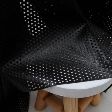 Au mètre tissu simili noir fin perforé ajouré en 145cm 976