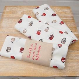 Mini coupon toile coton CABINES 50 x 72cm fond beige