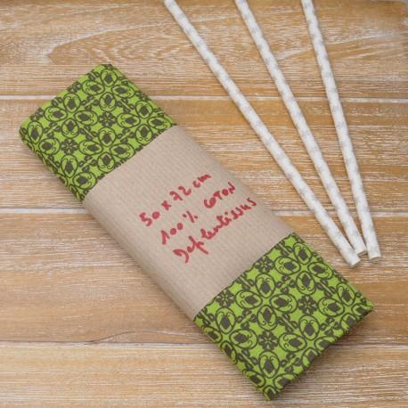 "Mini coupon toile coton ""Mozaiqanis"" 50x 72cm gris et anis"