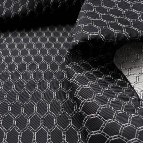 Au mètre Jacquard fond noir Haute Couture en 110cm n°1003