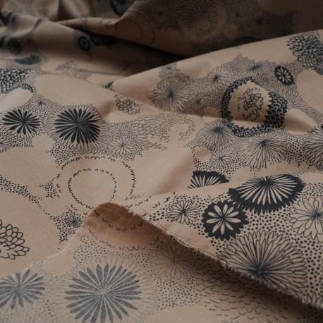 Au Mètre Fin Coton brun vert à motifs noirs n°996