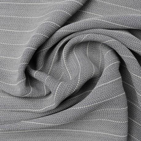 Au mètre viscose & coton gris rayé n°1019 en 135cm