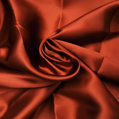 au mètre Satin de polyester opaque cuivre en 145 cm Ref 1023