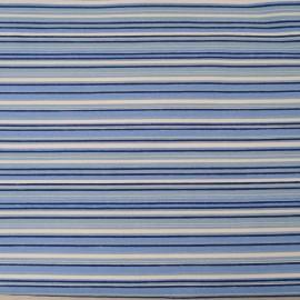 Au mètre, toile polyester stretch rayée bleu blanc en 145cm Ref 1008