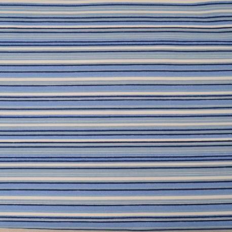 Au mètre, toile polyester rayée bleu blanc en 145cm Ref 1008