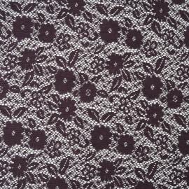 Au mètre dentelle stretch fleurs violet en 150cm n°1041