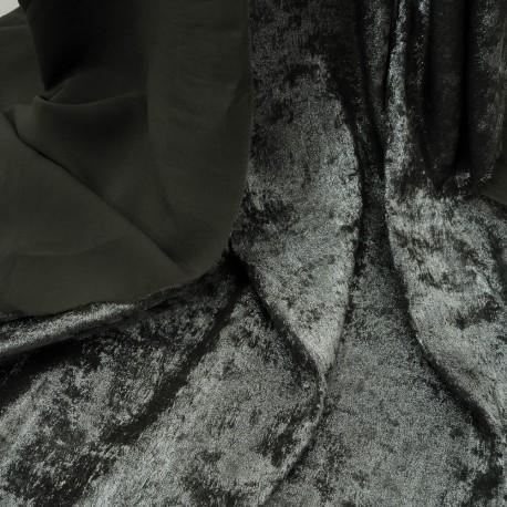 Au mètre polyester kaki lurex réversible en 145cm n°1074
