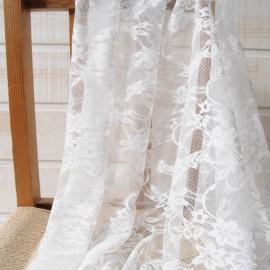 Au mètre dentelle stretch fleurs blanche en 160cm n°1030