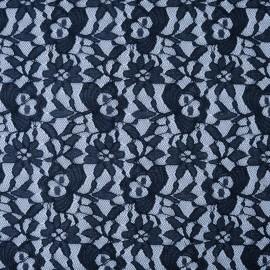 Au mètre dentelle stretch fleurs bleu marine en 150cm n°1031