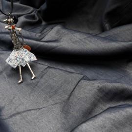 Coupon polycoton fin couleur bleu jean foncé 1m35 en 150cm n°1077