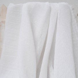 Coton et polyester type Seersucker blanc ajouré en 150cm n°369