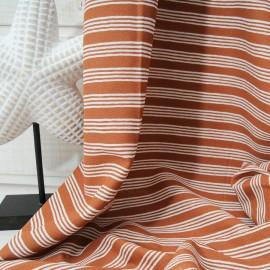 Au mètre crêpe Polyester et Coton haute Couture à rayures fines caramel en 135cm n°10102