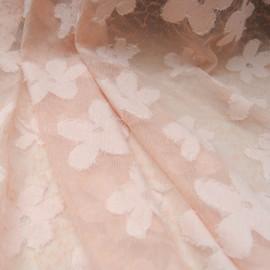 Coupon voile rose polyester et nylon à fleurettes 2m10 en 160cm