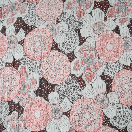 Au mètre Coton froissé rouge et blanc en 140cm n°10113
