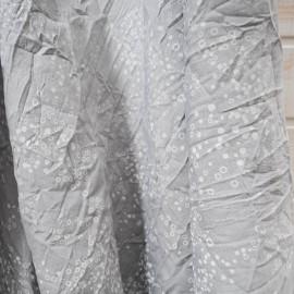 Au mètre coton froissé à mini bulles blanches sur fond gris n°10124